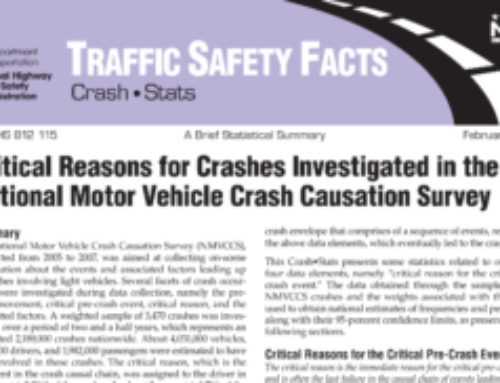 Critical Reasons for Crashes Investigated